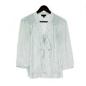 The Limited Sheer Striped Bow Tie Top